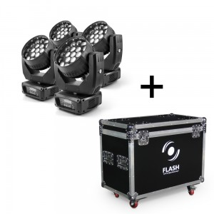 4x LED Moving Head ZOOM 19x12W RGBW 4in1 OSRAM v3 + CASE