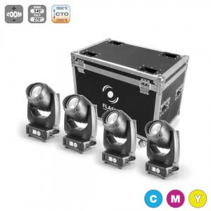 4x LED MOVING HEAD 200W CMY WASH + CASE (ZESTAW)